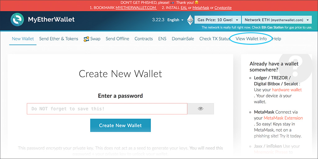 MyEtherWallet Screen 01